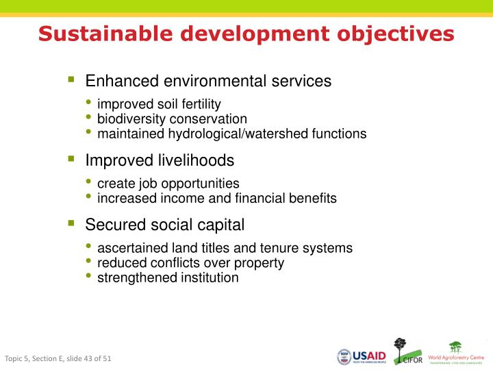 Sustainable development objectives