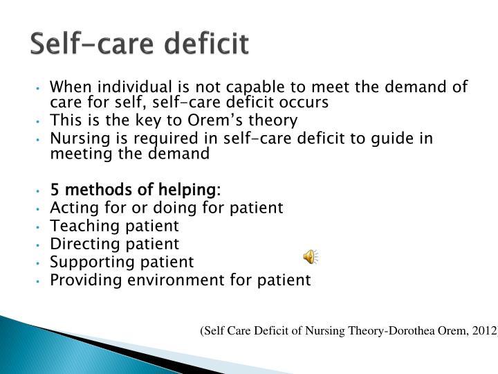 Nursing patient and self care deficit