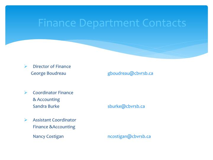 Finance Department Contacts