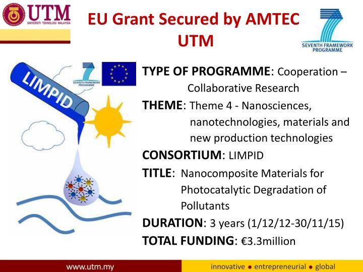 EU Grant Secured by AMTEC, UTM