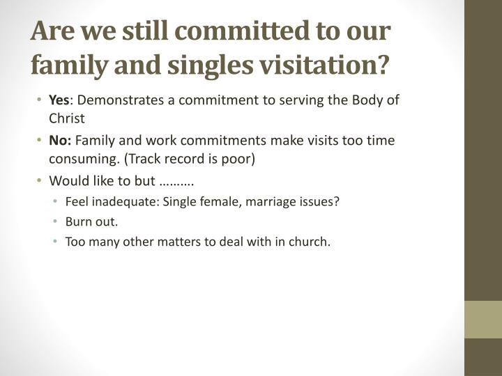 Are we still committed to our family and singles visitation?