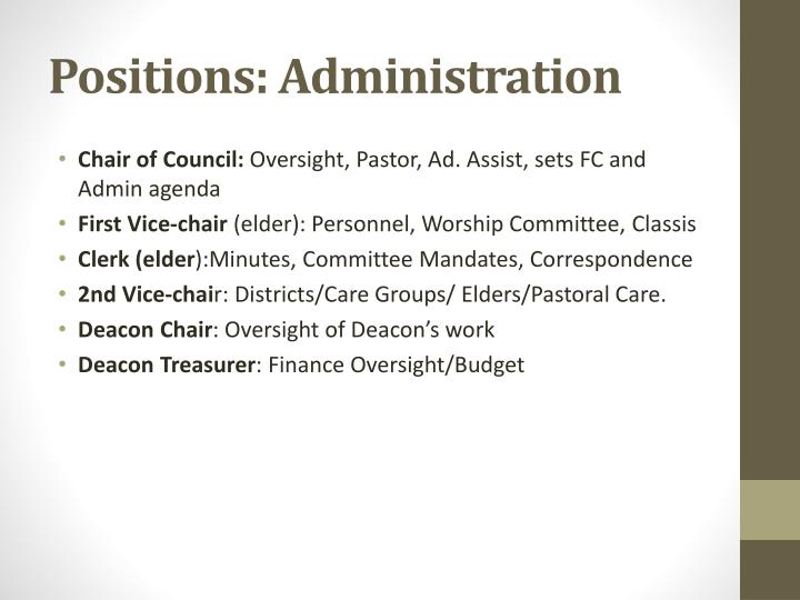 Positions: Administration