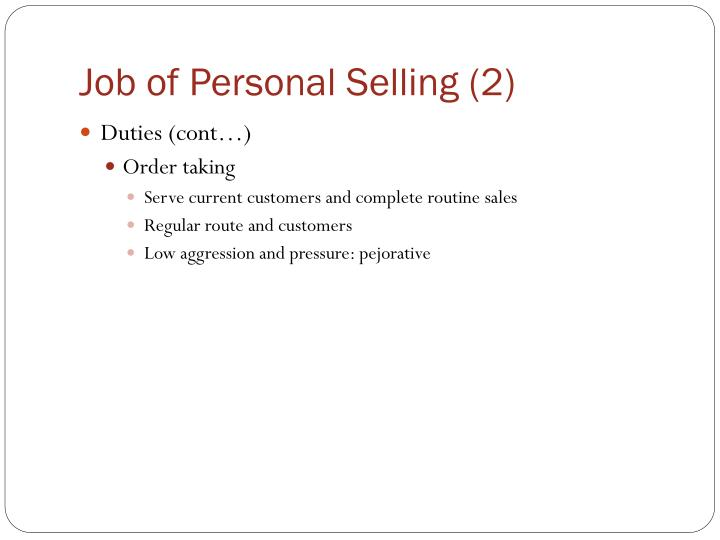 Job of Personal Selling (2)