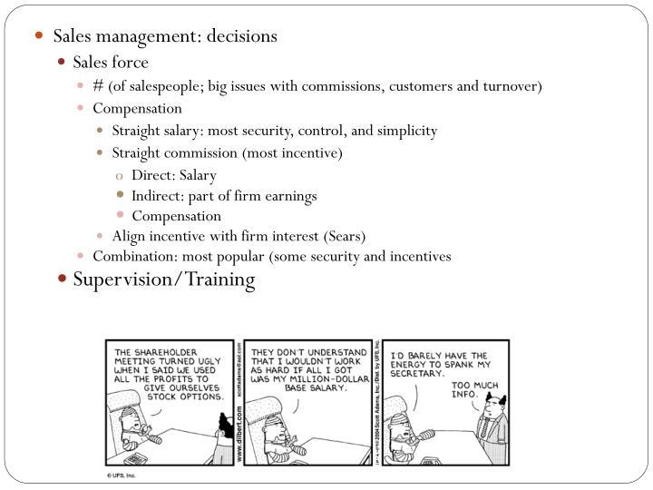 Sales management: decisions