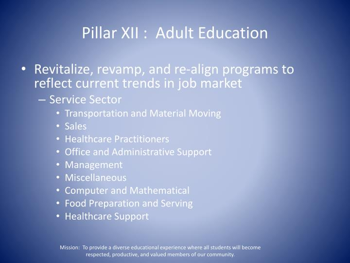 Pillar XII :  Adult Education