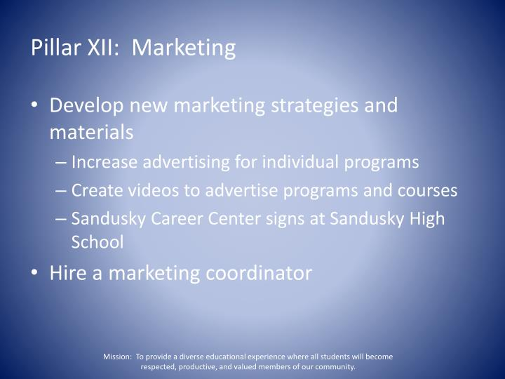 Pillar XII:  Marketing