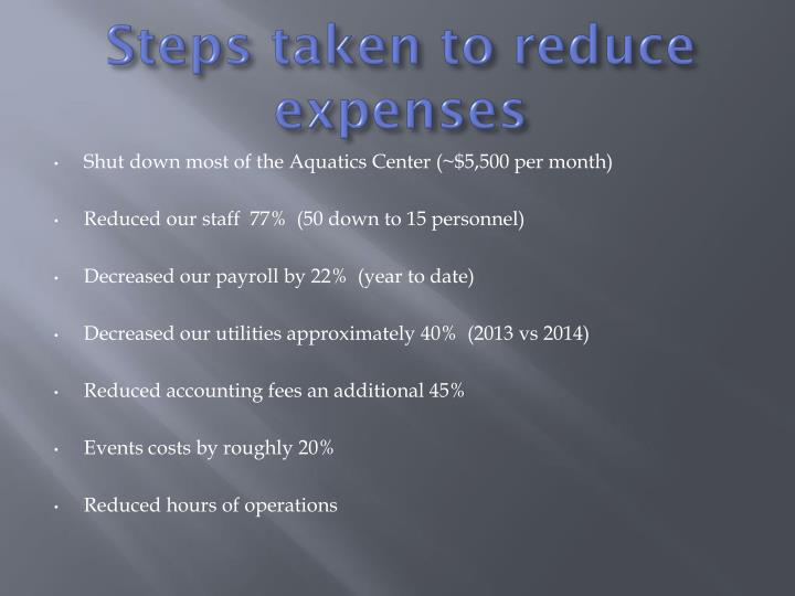 Steps taken to reduce expenses