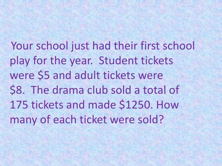Your school just had their first school play for the year.  Student tickets were $5 and adult tickets were $8.  The drama club sold a total of 175 tickets and made $1250