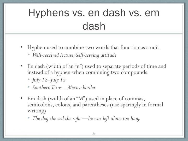 Hyphens vs. en dash vs. em dash
