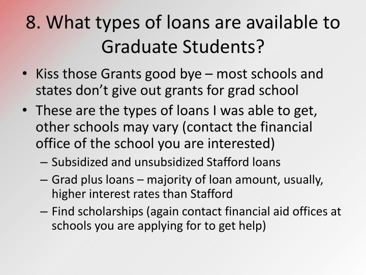 8. What types of loans are available to Graduate Students?