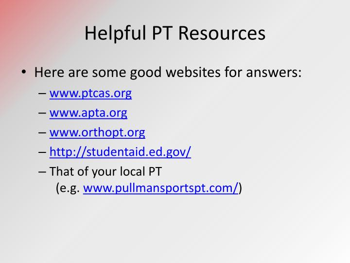 Helpful PT Resources