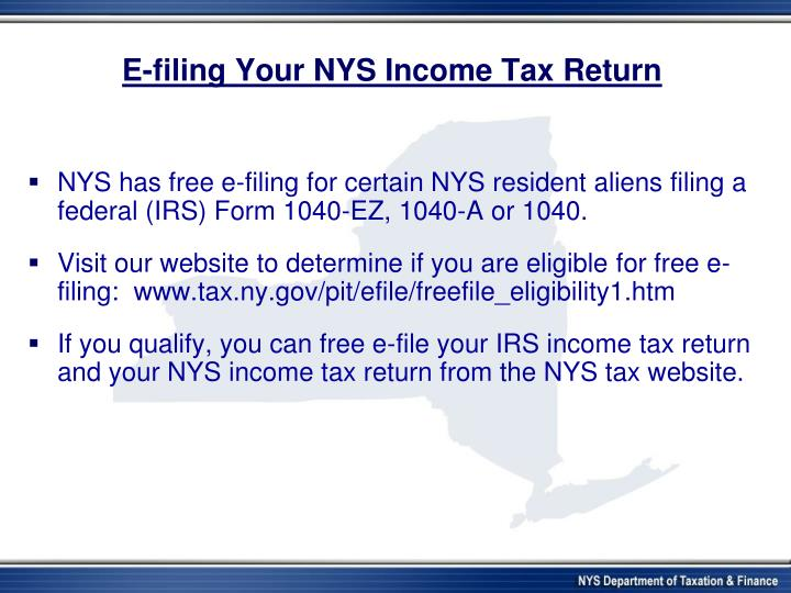 E-filing Your NYS Income Tax Return
