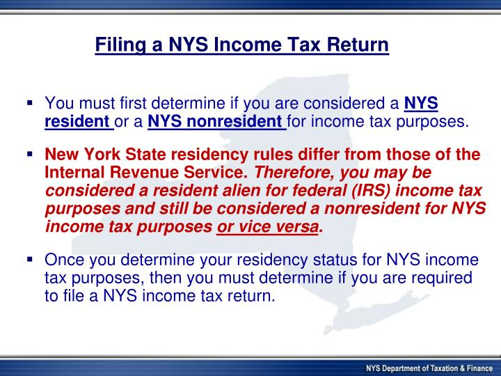 Filing a nys income tax return