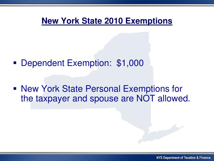 New York State 2010 Exemptions