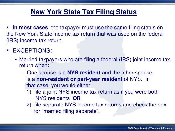 New York State Tax Filing Status