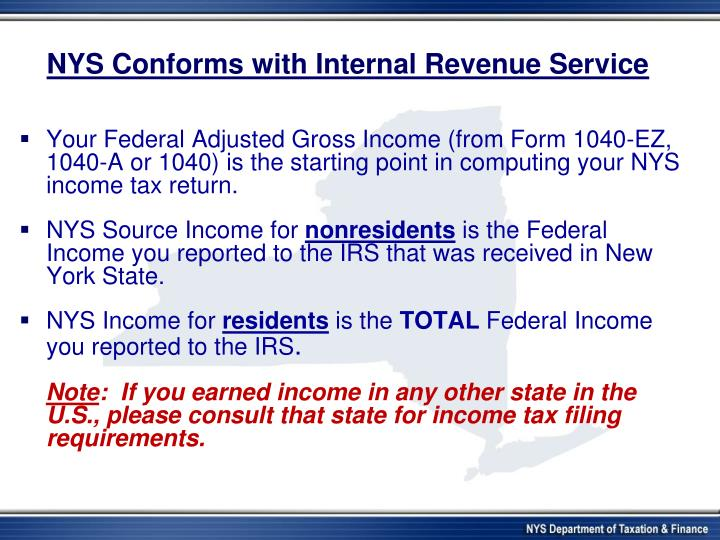 NYS Conforms with Internal Revenue Service