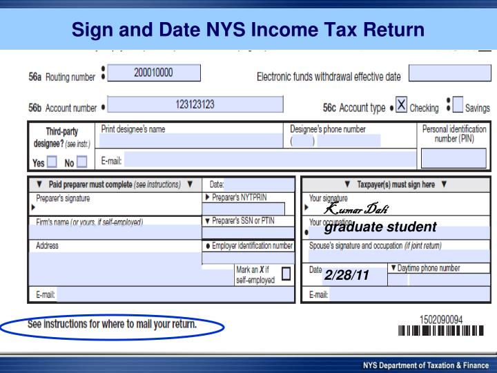 Sign and Date NYS Income Tax Return
