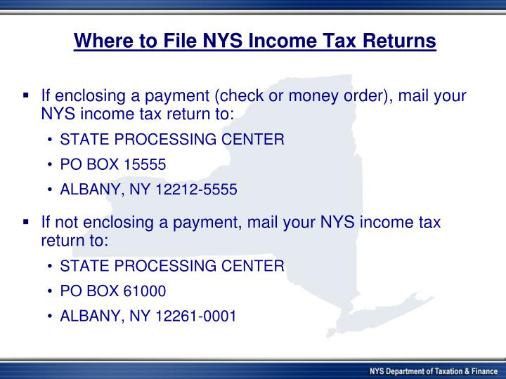 Where to File NYS Income Tax Returns