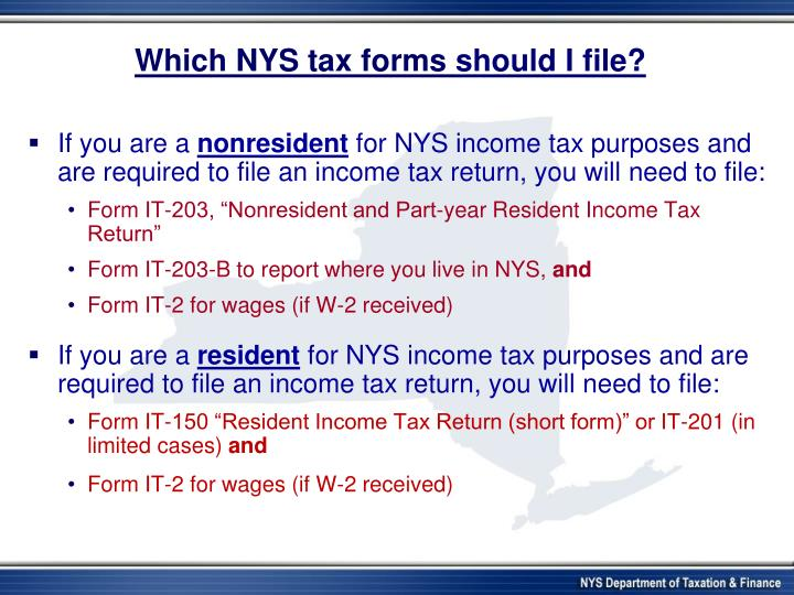 Which NYS tax forms