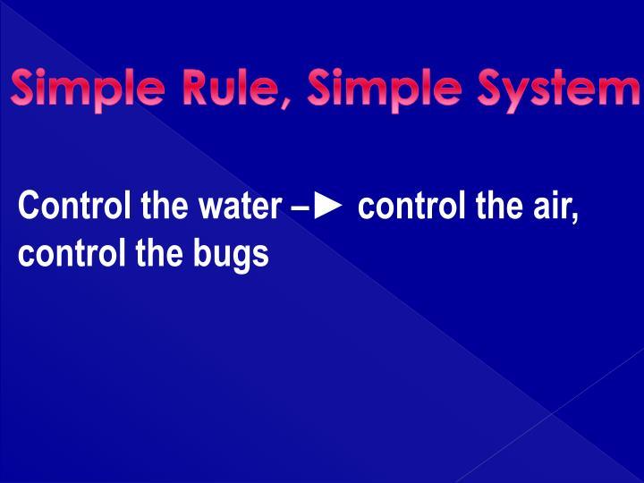 Simple Rule, Simple System