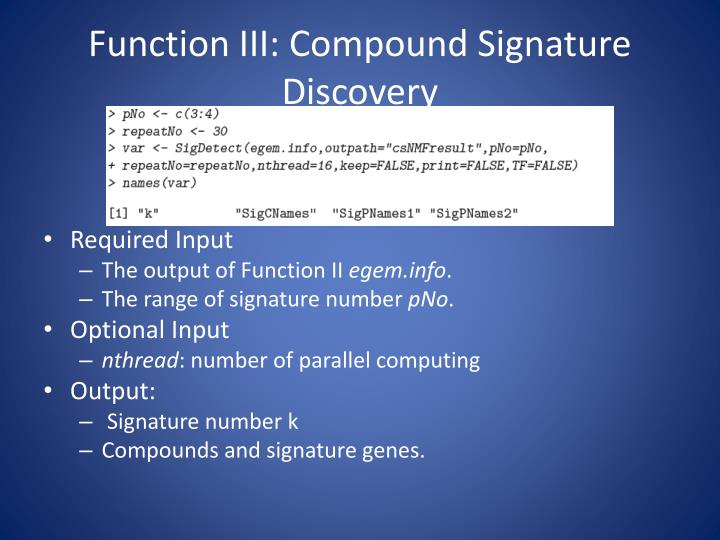 Function III: Compoun