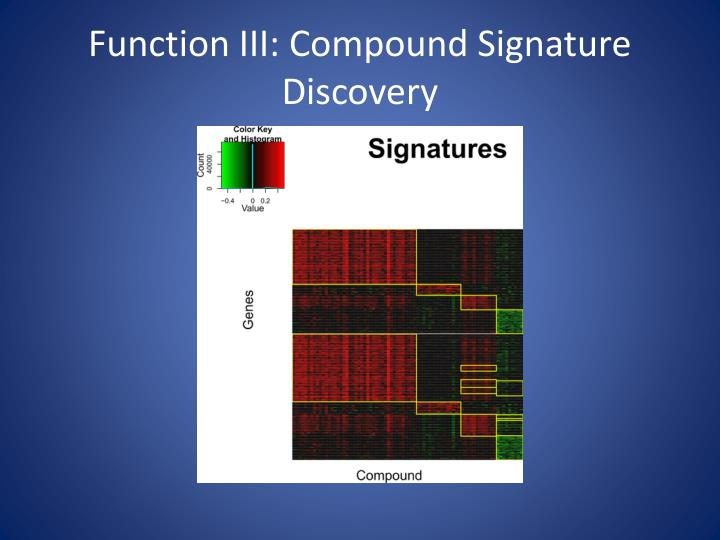 Function III: Compound Signature Discovery