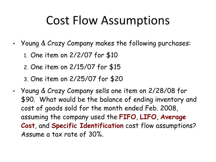 Cost Flow Assumptions