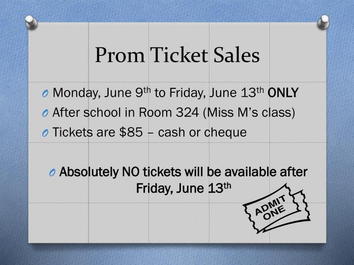 Prom Ticket Sales