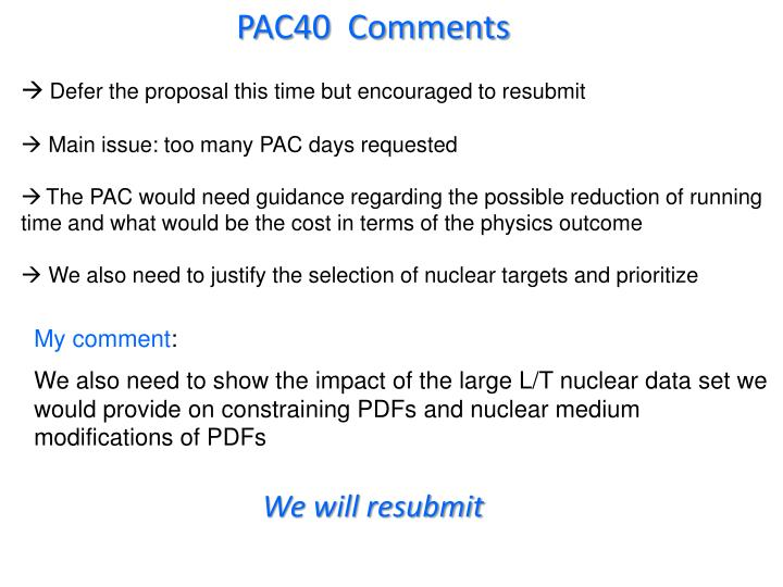 PAC40  Comments
