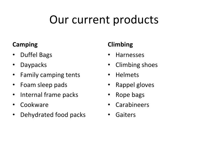 Our current products