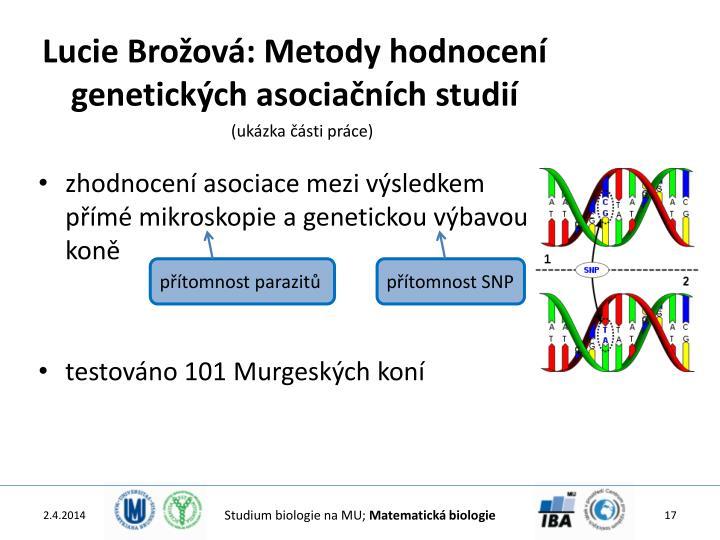 Lucie Brožová: Metody hodnocení genetických asociačních studií