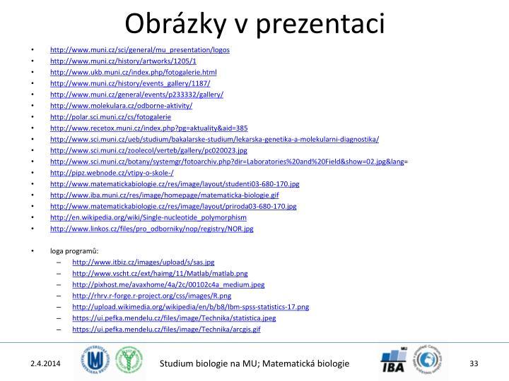 Obrázky v prezentaci