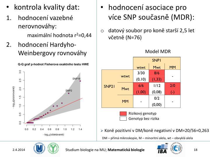 hodnocení asociace pro více SNP současně (MDR):