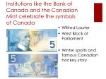 institutions like the bank of canada and the canadian mint celebrate the symbols of canada
