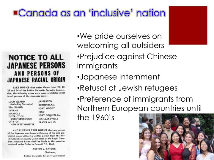 Canada as an 'inclusive' nation