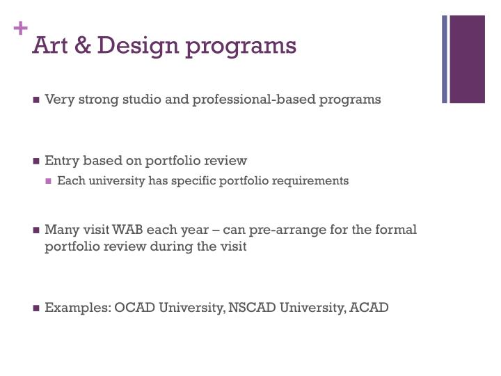 Art & Design programs