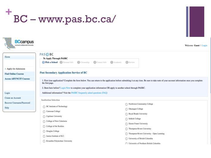 BC – www.pas.bc.ca/