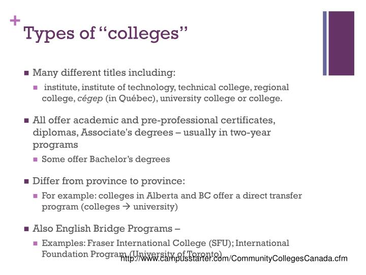 "Types of ""colleges"""