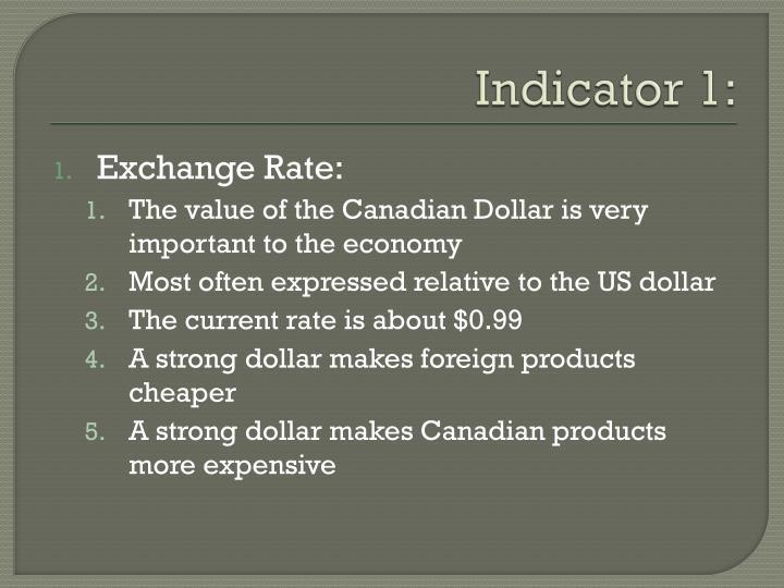 Indicator 1: