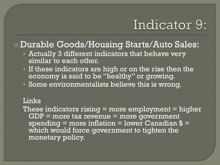 Indicator 9: