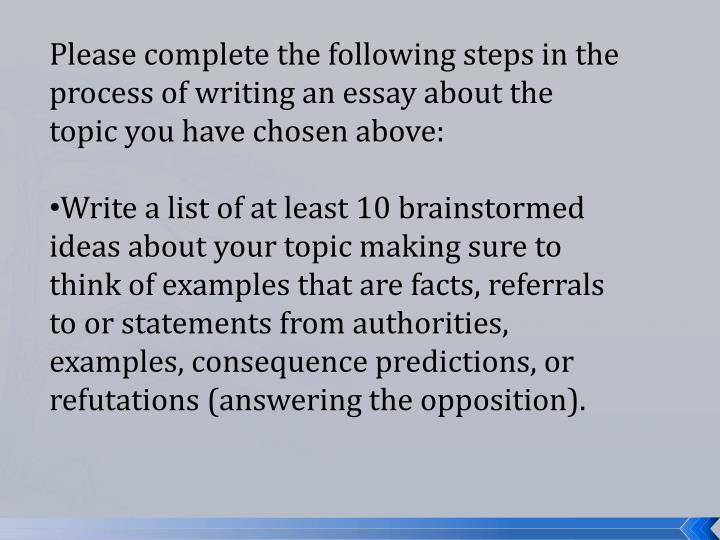 Please complete the following steps in the process of writing an essay about the topic you have chosen above: