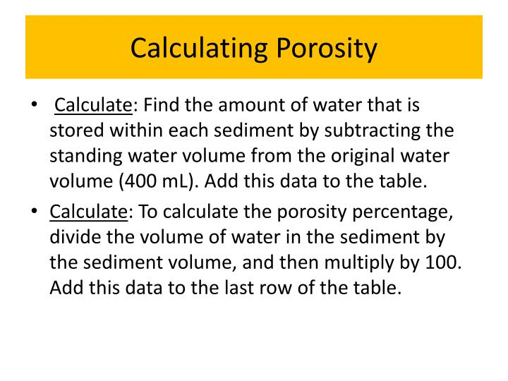 Calculating Porosity