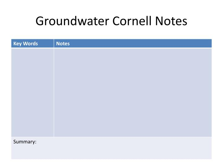 Groundwater cornell notes