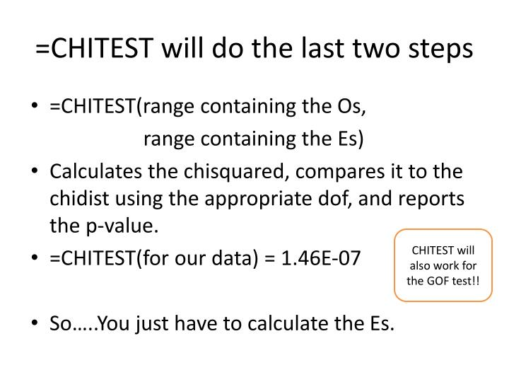 =CHITEST will do the last two steps