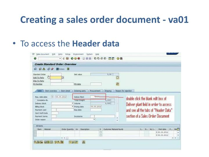 Creating a sales order document - va01