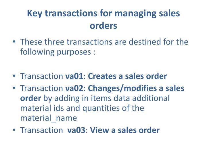 Key transactions for managing sales orders