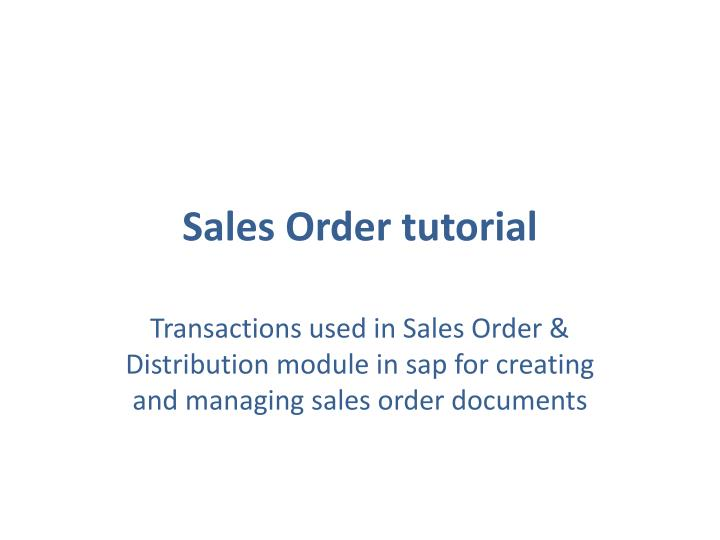 Sales order tutorial