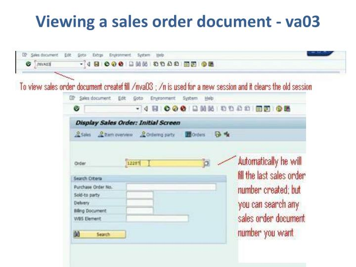 Viewing a sales order document - va03