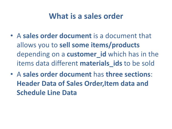 What is a sales order