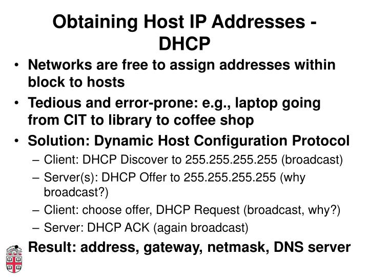 Obtaining Host IP Addresses - DHCP